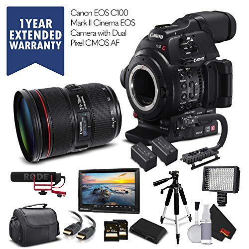 Canon EOS C100 Mark II 0202C002 & 24-70mm f/2.8L II USM Lens with 2 Memory Cards, 2 Extra Batteries, Mic, Case, Led Light, External Monitor,Warranty and More - Pro Bundle - (International Version)