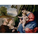 Oil painting 'Madonna and Child with Two Donors, about 1525 - 1530 By Lorenzo Lotto' printing on high quality polyster Canvas , 16x22 inch / 41x55 cm ,the best Wall art decor and Home gallery art and Gifts is this High quality Art Decorative Prints on Canvas
