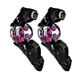 SCOYCO Amor Knee Guards for Motorcycle,Rotatable PP Shell Hard Collision Avoidance Knee Shin Protectors for ATV/BMX (Pink)