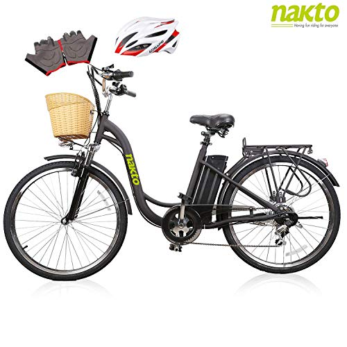 NAKTO 26' Adult Electric Bicycle for Women with High-Speed Brushless Motor, V Brake, Sporting Shimano 6-Speed Gear, Removable 36V 10A Lithium Battery Charger with Lock (Spark Black)
