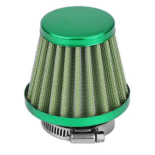 38mm Universal Motorcycle Clamp-On Air Intake Filter Kit, Auto Cold Air Intake Scooter Atv Dirt Pit Bike Motorcycle Air Filter (Green)