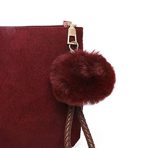Besace Femme Éclair Boule Wolfleague Pas De A Cher Rouge Cuir Cheveux Vintage sac Grand Bandouliere Fermeture Reutilisable Sac Main tqwxRTAqv
