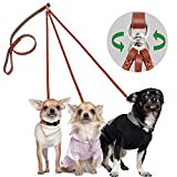 PET ARTIST No Tangle Dog Leash 3 Way Leather Leash Coupler Leash-Tangle Free Dog Splitter-Brown 4.2 feet Length-Fit Puppy Medium Small Dog Daily Walking for Three Dogs