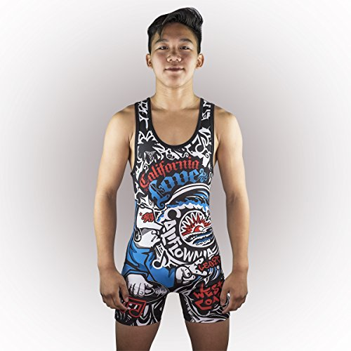 CALIFORNIA Love Wrestling Singlet Youths and adult Mens sizes (Adult L: 165lbs-185lbs) ()