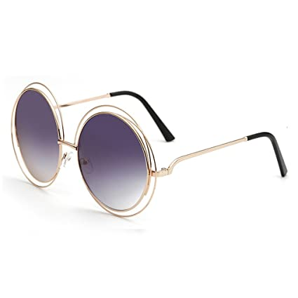 4aa107014463 Paciffico Unisex Adults Fashion Oversized Aviator Sunglasses Retro Metal  Round Frame Gradient Colored Mirror Eyeglasses PC