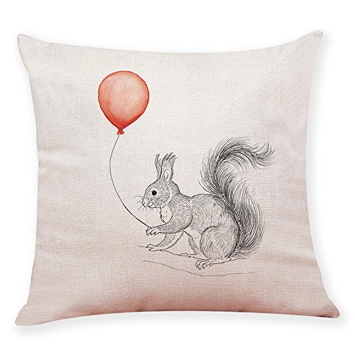 Pgojuni Balloon Animal Decoration Simple Style Home Pillowcase Linen Decoration Throw Pillow Cover Cushion Cover Pillow Case for Sofa/Couch 1pc ()