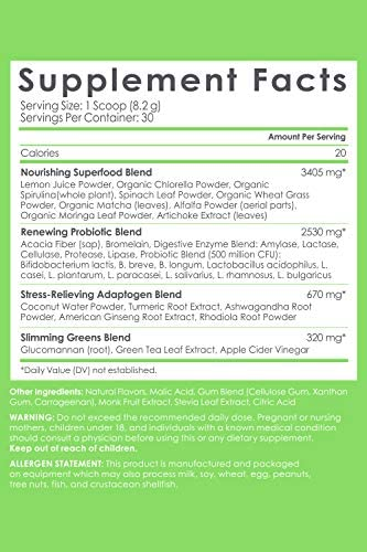 SkinnyAre compatible Skinny Greens, Green Juice Superfood Powder, Green Apple Flavor, Support Weight Loss, Natural Energy & Focus, Reduce Bloating, Helps Reduce Inflammation, Spirulina, Chlorella, 30 Servings
