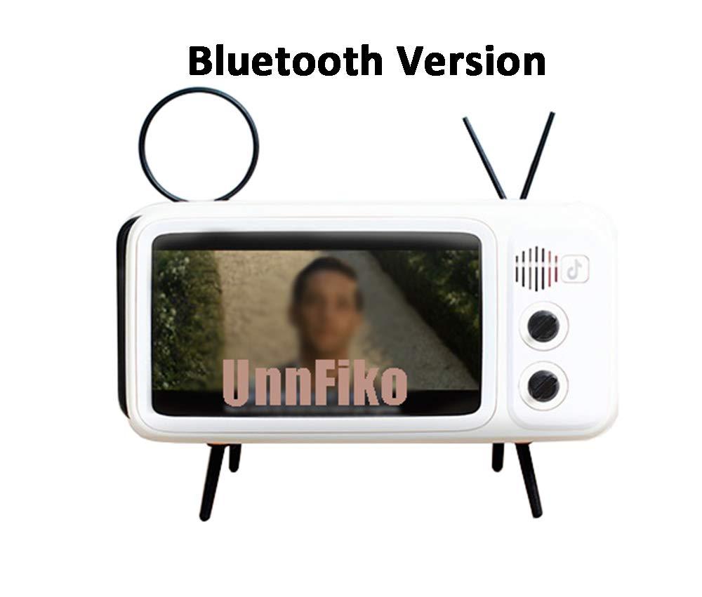 UnnFiko Wireless Bluetooth SpeakersRetro TV Style Stand Holder, Cartoon Desktop Bracket Desk Mount, Universal for Samsung iPhone X 6 6s 7 8 Plus Xs Max XR (TV White Bluetooth)