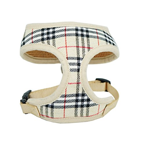 WONDERPUP Plaid Dog Cat Harness with Comfort Soft Mesh No Pull Durable for Small Puppy Walking Beige Medium