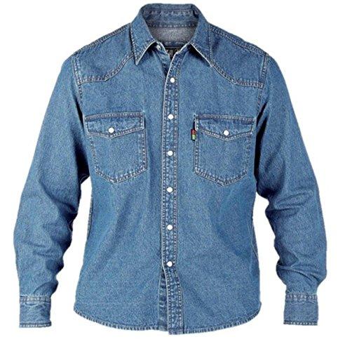 Duke KS1023 Jeans Western-Hemd blau in Übergrößen: Farbe: stone | Kragenweite: 47/48-2XL