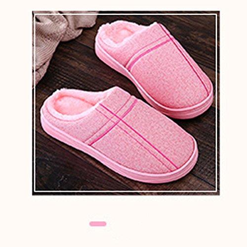 Hiver Cuir Coton Avec Chaud Mois Hiver Pink Green Couples Maison Intérieur En Pantoufles Pantoufles L'eau Mâle PU Sur Femmes En Épais wZqxIfp
