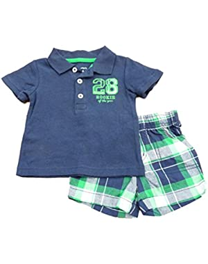 Carters Infant Boys Blue 28 Rookie Polo Shirt & Blue Green Plaid Shorts Set