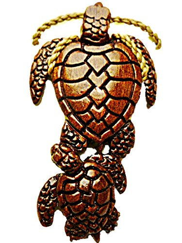 HAWAIIAN HONU TURTLE W/ BABY KOA WOOD PENDANT NECKLACE