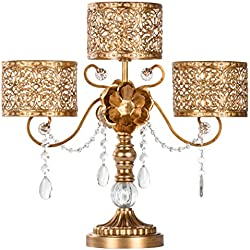Amalfi Décor Victoria Antique Gold Metal 3 Pillar Candle Holder, Wedding Table Hurricane Centerpiece Crystal Draped Accent Stand Display