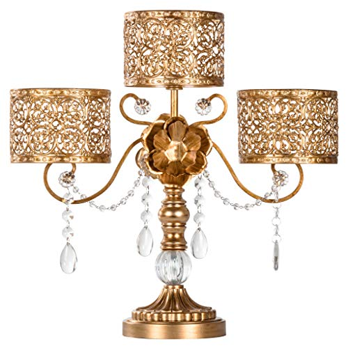 Amalfi Décor Victoria Antique Gold Metal 3 Pillar Candle Holder, Wedding Table Hurricane Centerpiece Crystal Draped Accent Stand Display (Footed Candlestick)