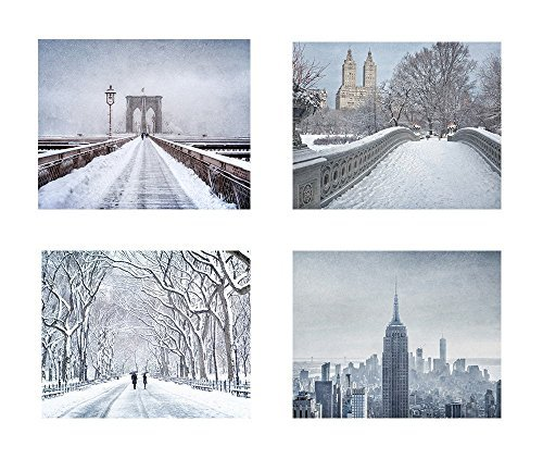 New York City Wall Art NYC in Winter Set of 4 8x10 Matted Photographic Prints 'Big Apple Winter' [並行輸入品]   B07GZKTQFC