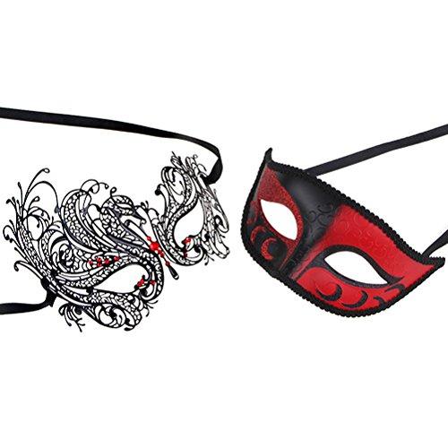 Couples Pair Half Venetian Masquerade Ball Masks Set Party Costume Accessory (red) (Venetian Half Mask)