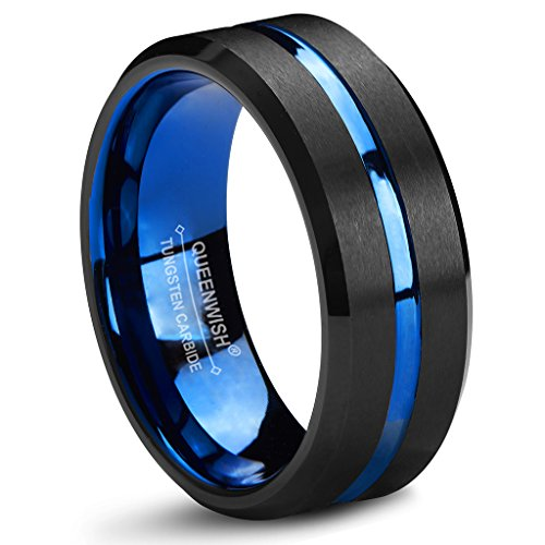 Stylish Two Tone Wedding Band (8mm Blue Tungsten Wedding Band Black Brushed Couples Engagement Anniversary Rings Comfort Fit 9.5)