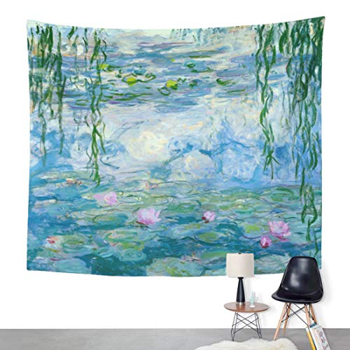 ArtSocket Tapestry Water Lilies by Claude Monet Oil Paintings Flowers Home Decor Wall Art Hanging for Living Room Bedroom Dorm 60 x 80 Inches Tapestry