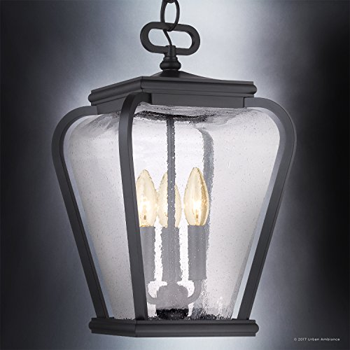 Luxury French Country Outdoor Pendant Light, Medium Size: 15.5''H x 9.5''W, with Mediterranean Style Elements, Soft and Simple Design, Inky Black Silk Finish and Seeded Glass, UQL1204 by Urban Ambiance by Urban Ambiance (Image #2)