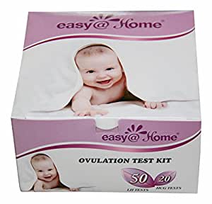 Easy@Home branded 50 Ovulation (LH) and 20 Pregnancy (HCG) Test Strips Kit - the best selling and trusted Ovulation Predictor Kit (50 LH + 20 HCG Tests)