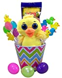 Big Eyed Yellow Ducky Easter Basket with Light Up Lightning Bug Candy and Lollipops