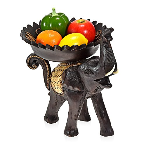 AeraVida Cheerful Elephant with Leaves Carved Wooden Tray by AeraVida (Image #4)