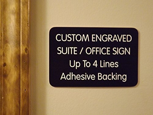 Custom Engraved 4x6 Black w/ White Lettering Door Suite Wall Sign | Name Plate | Personalized Wall Plaque | Business Doctor Law Firm Home Office Cafe Shop | Up to 4 Text Lines | Adhesive Backed by Jay Graphics (Image #2)