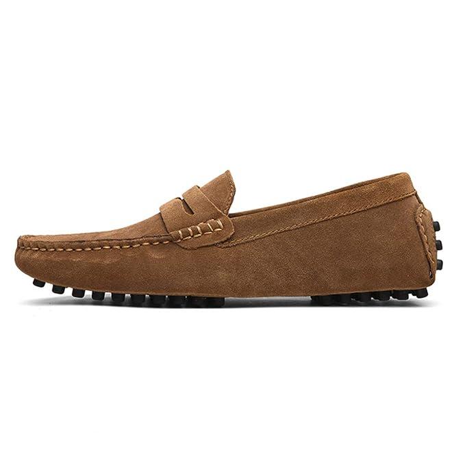 DAN Mocasines Para Hombres Zapatos De Gamuza Antideslizantes Ocasionales Zapatos Para Conducir Zapatos Para Botes Zapatos De Cuero Suave Zapatos Para ...