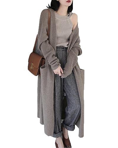 Mujeres Manga Larga Cálido Cardigan De Punto Flojo Del Suéter Outwear