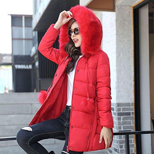 Doudoune Cheveux Manteau Cou Plus Lammy Veste Hiver Unie Du Rcool Rouge Femmes épais O1wROT