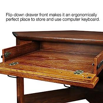 Leick Corner Computer and Writing Desk, Mission Oak Finish