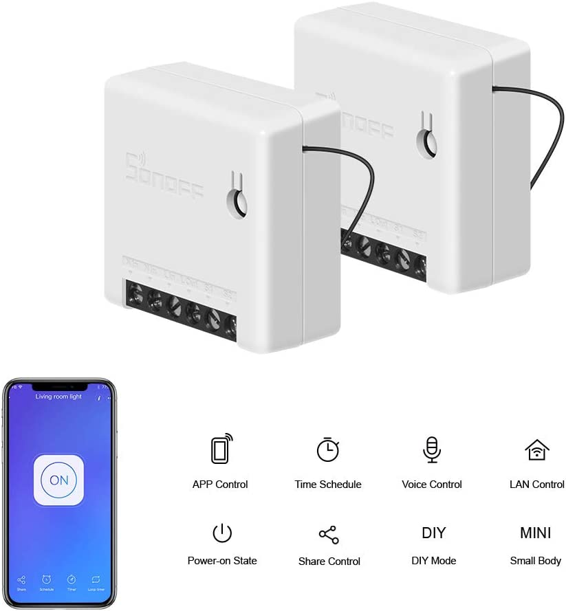 SONOFF MINI 10A Smart WiFi Wireless Light Switch, Universal DIY Module for Smart Home Automation Solution, Works with Alexa & Google Home Assistant, Compatible with IFTTT, No Hub Required (2-pack)