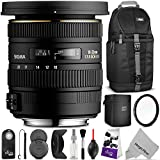 Sigma 10-20mm f 3.5 EX DC HSM ELD SLD Wide-Angle Lens for NIKON DSLR Cameras w Essential Photo and Travel Bundle