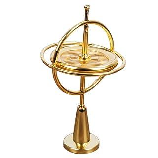 FOONEE Metallo giroscopio Giocattolo con piedistallo, Equilibrio Spinner Giocattolo per Bambini e Adulti, Interessante Giocattolo e Regalo Gold