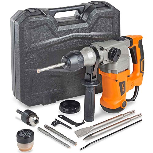 VonHaus 10 Amp Electric Rotary Hammer Drill with Vibration Control, 3 Drill Functions and Adjustable Handle - Includes SDS Plus Drill Demolition Kit, Flat and Point Chisels with Case ()
