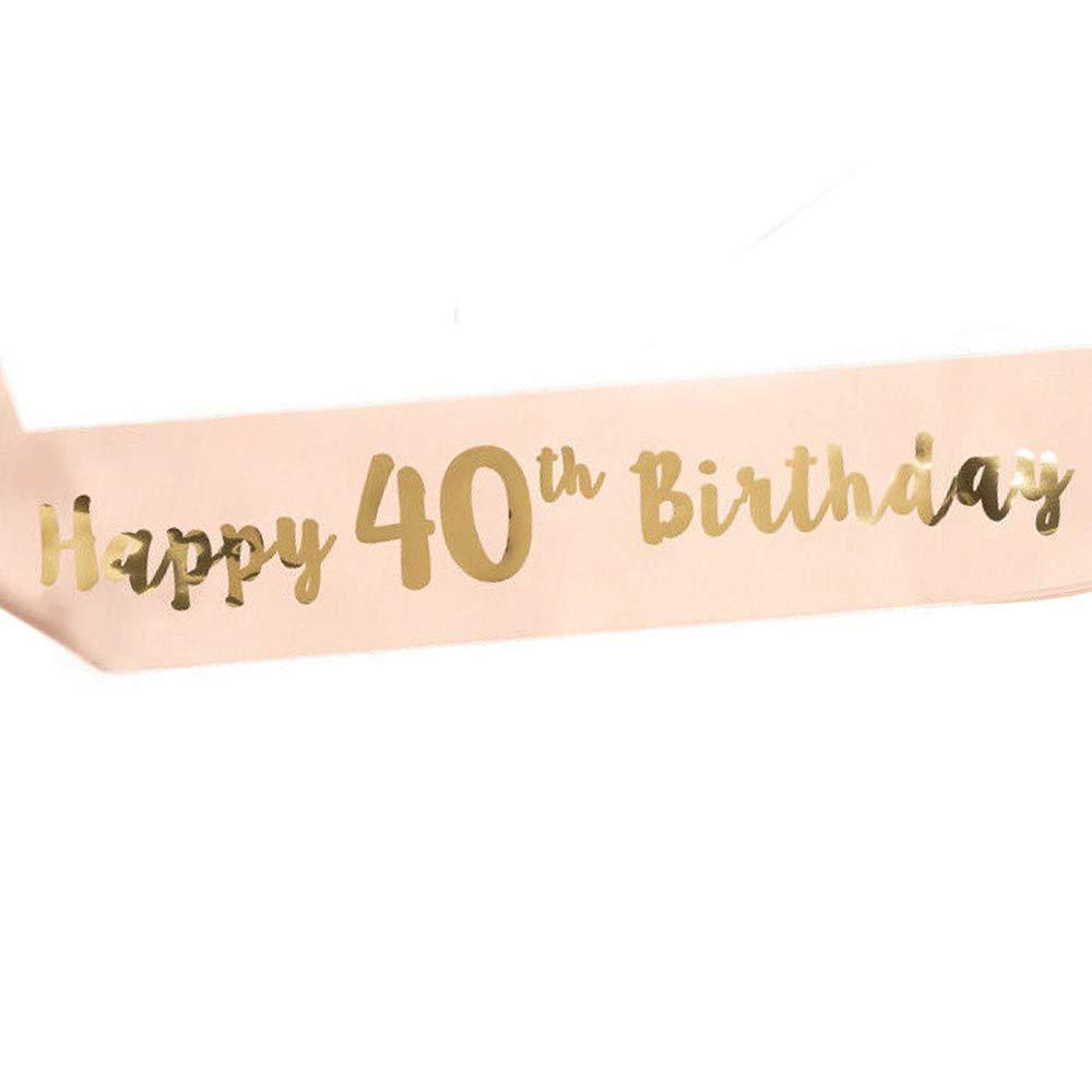 """30 A/ños 16//18//21//30//40//50//60 A/ños Decoraci/ón y Regalo para Fiesta de Cumplea/ños /""""Happy Birthday/"""" LINVINC Oro Rosa Banda de Sat/én para Cumplea/ños Feliz Cumplea/ños"""