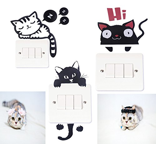 DECORA 3 Different Cat Wall Stickers for Light Switch Decor Decals.