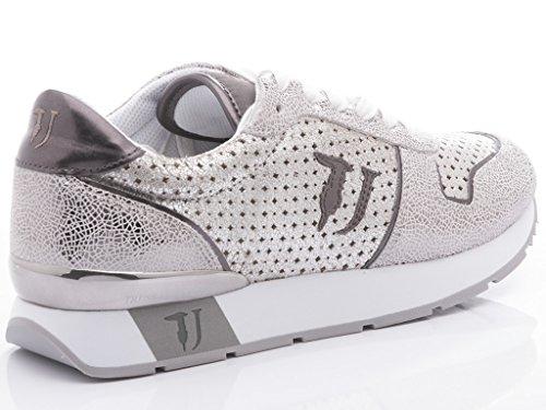 Trussardi Jeans Scarpe-Sneakers Donna Running Pelle Traforata Grigio