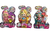 Shopkins Shoppies Collection: Popette, Bubbleisha and Jessicakes (3 separate dolls)