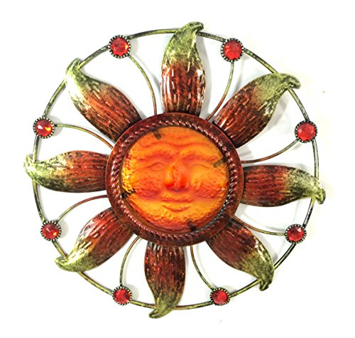 (Bejeweled Display® Sun Face w/ Stain Glass Wall Art Plaque Home Decoration )