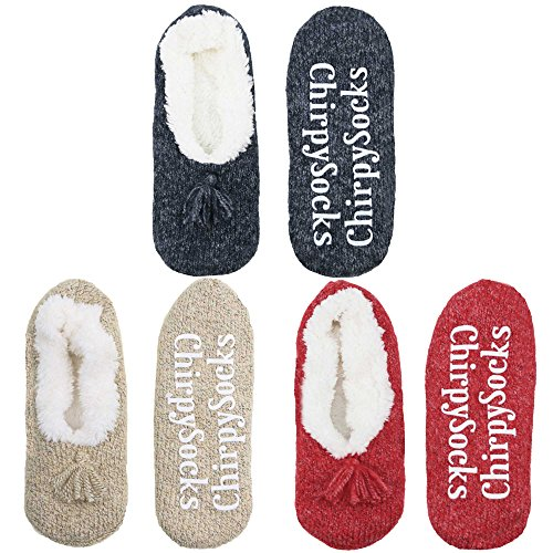 Adult Size Medium Fuzzy Fancy Yarn Slippers Non-Slip Lined Socks - 3A3-M - 3 prs