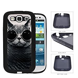 Funny Cat With Round Glasses Rubber Silicone TPU Cell Phone Case Samsung Galaxy S3 SIII I9300