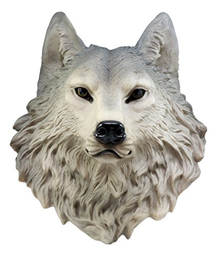 Ebros Gift Large Gray Timber Wolf Head Wall Decor Plaque 16.5