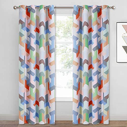 KGORGE Polygon Geometric Room Darkening Curtains, Pop Style Contrast Color Cube Window Drapes for Library Study Kids Room 52 inches Wide x 84 Inches Long, 2 Panels, Bright Colors Collection