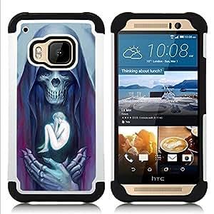 Jordan Colourful Shop - Angel Death Human Bones Skull For HTC ONE M9 - < Llevar protecci????n de goma del cuero cromado mate PC spigen > -