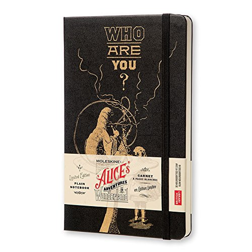Moleskine Alice's Adventures in Wonderland Limited Edition Notebook, Large, Plain, Black, Hard Cover (5 x 8.25)