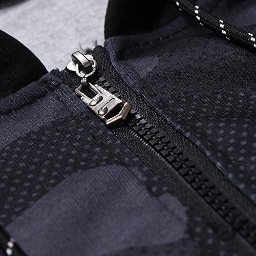 Capuche Blousons Sweatshirt Tee Manteau Automne À Outwear Tops Veste Longues Sweats noir Manches Zippée Et Fermeture Casual Camouflage Aimee7 Survêtements Homme HBxETE