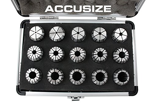 AccusizeTools - 15 Pcs ER-25 Collet Sets Holding End Mills, Sizes from 1/16'' to 5/8'' in Fitted Strong Aluminum Box, #0223-0835