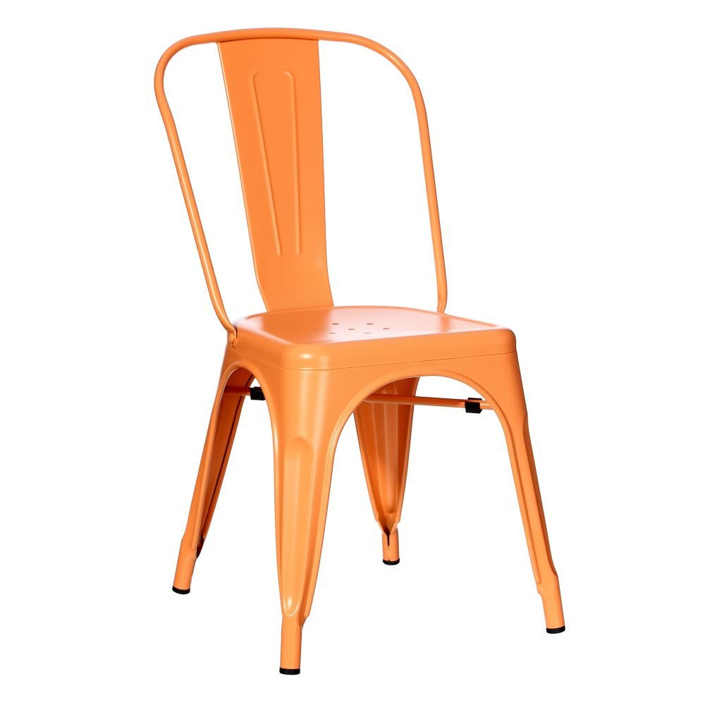 Chaise orange métal Dallas industriel 45 x 52 -50 x 85 cm